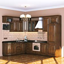Фото Интерьер Дизайн Кухня Люстра 3D Графика