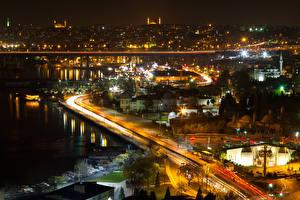 Фотография Стамбул Турция Здания Дороги Ночью Заливы город