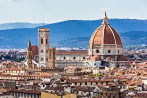 Картинки Италия Дома Храмы Флоренция Собор Купол Города