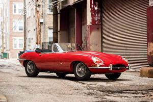 Обои Jaguar Винтаж Красные Металлик Кабриолета 1961-62 E-Type 3.8-Litre Open Two Seater Автомобили
