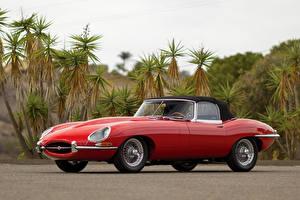 Картинки Jaguar Ретро Красных Металлик 1962-64 E-Type 3.8-Litre Open Two Seater машины