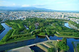 Фото Япония Дома Парки Пруд Сверху Hakodate Goryokaku Park-Fort Города
