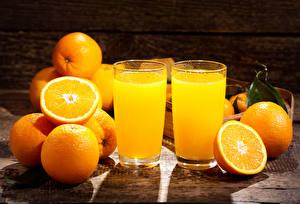 Фотографии Сок Цитрусовые Апельсин Стакане Продукты питания