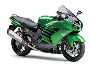 Обои Kawasaki Белый фон Салатовый 2012-16 Ninja ZZR1400 Performance Sport Worldwide Мотоциклы