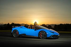 Фотография Lamborghini Голубой Сбоку 2017 O.CT Tuning Huracan 800 Supercharged Spyder Автомобили