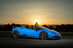 Фотография Lamborghini Голубые Сбоку 2017 O.CT Tuning Huracan 800 Supercharged Spyder авто