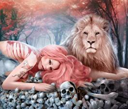 Картинка Львы Черепа Рыжая Кровь Фэнтези Девушки