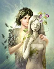 Картинки Любовь Влюбленные пары Двое Фэнтези
