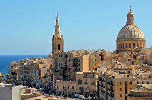 Фотография Мальта Здания Башня Купол Valetta Города