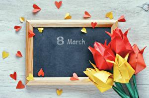 Фотография Международный женский день Праздники Тюльпаны Шаблон поздравительной открытки Сердце Оригами Цветы