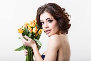 Фотография Международный женский день Тюльпаны Белый фон Шатенка Взгляд Девушки