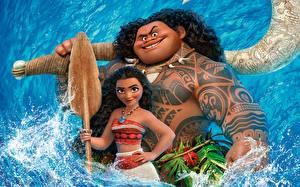Картинки Моана Тату Улыбка Maui Мультфильмы Девушки