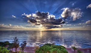 Фотография Монако Пейзаж Побережье Море Небо Вечер HDR Облака Горизонт Природа