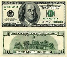 Фотографии Деньги Купюры Доллары 100 Franklin