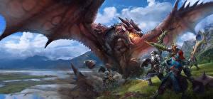 Фото Monster Hunter Драконы Битвы Воители Крылья Игры Фэнтези