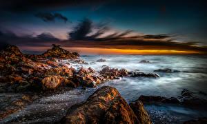Фотография Новая Зеландия Пейзаж Побережье Рассветы и закаты Камни Небо Thames Природа