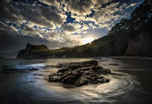 Обои Новая Зеландия Небо Побережье Камни Облака Tasman Природа