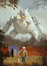 Фотографии Старый мужчина Ограда Робот Фэнтези