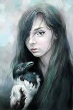 Фото Рисованные Вороны Готические Волосы Девушки