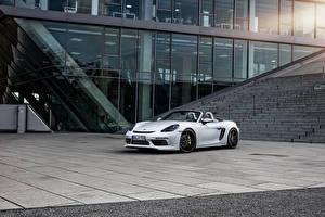 Обои Porsche Белый Кабриолет 2016-17 TechArt Porsche 718 Boxster Машины
