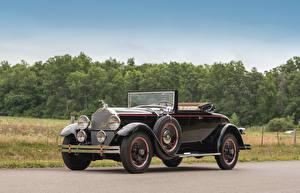 Фотография Старинные Кабриолета Черный Металлик 1929 Packard Standard Eight Convertible Coupe Автомобили