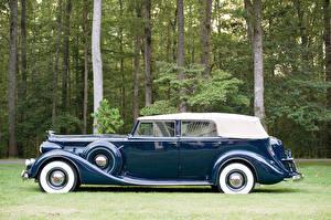 Фото Винтаж Синих Металлик Сбоку Седан 1937 Packard Super Eight Convertible Sedan Автомобили