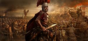Фотографии Rome: Total War Солдаты Мужчины Меч Шлем Доспехи 2 компьютерная игра