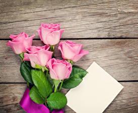 Обои Розы Доски Розовый Шаблон поздравительной открытки Цветы фото