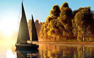 Фотография Парусные Осень Яхта Побережье Деревья 3D Графика Природа