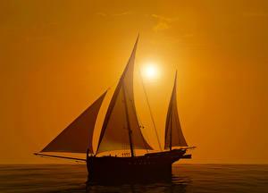 Картинки Парусные Рассветы и закаты Море Корабли 3D Графика