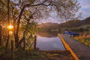 Фотография Шотландия Рассветы и закаты Озеро Пирсы Осень Дерева Lake of Menteith Природа