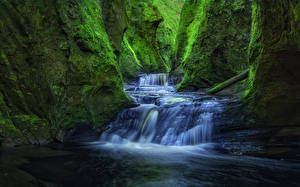Обои Шотландия Водопады Каньон Мох Скала Finnich Gorge Craighat