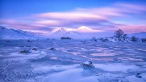 Картинки Шотландия Зима Пейзаж Горы Небо Снег Rannoch Moor Природа