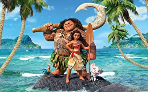 Обои Море Моана Maui Мультфильмы Девушки