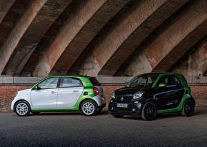 Картинки Смарт Двое Металлик 2017 forfour prime electric drive Worldwide Автомобили