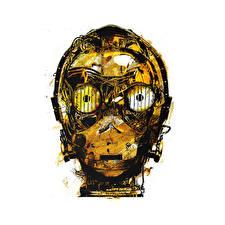 Фотография Звездные войны Крупным планом Глаза Голова Робот Белый фон Золотой C-3PO Фильмы Фэнтези