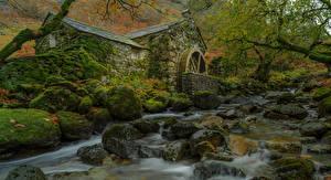 Обои Камни Мельница Ручей Мох Borrowdale Mill Природа