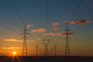 Фотография Рассветы и закаты Небо Облака Солнце Линия электропередачи