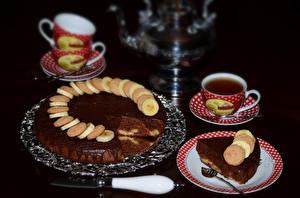 Фотография Сладости Торты Шоколад Чай Тарелка Чашка Ложка Еда