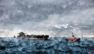 Картинки Танкер Корабли Море Волны Облака