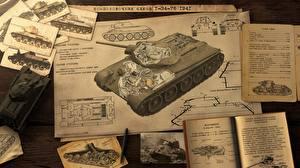 Картинка Танки Т-34 War Thunder Страница Лист бумаги Русские Т-34-76