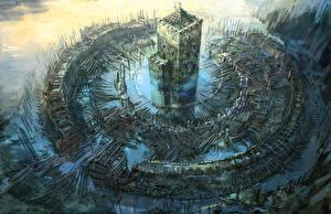 Картинки Ведьмак 3: Дикая Охота Крепость Фэнтези