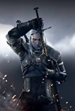 Картинки The Witcher 3: Wild Hunt Геральт из Ривии Мужчины Воители Мечи Игры Фэнтези