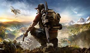 Фотографии Tom Clancy Солдаты Пистолеты Мужчины Ghost Recon Wildlands Кепка Игры