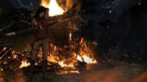 Картинки Tomb Raider Лучники Огонь Лара Крофт Игры 3D_Графика Девушки
