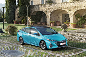 Обои Toyota Голубой Металлик Гибридный автомобиль 2016-17 Prius Plug-in Hybrid автомобиль