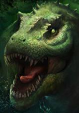Фото Тираннозавр рекс Древние животные Динозавры Голова Оскал Зубы Животные