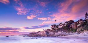 Картинка США Побережье Дома Небо Калифорния Скала Laguna Beach Природа