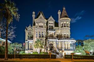 Фото США Здания Техас Особняк Дизайн Ночные Galveston