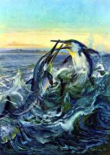 Картинка Подводные Древние животные Зденек Буриан Драка Двое Ichthyosaurs Животные